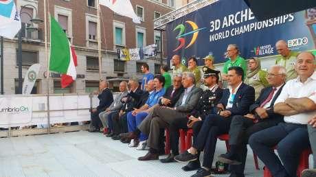 Visita presidente Coni Giovanni Malagò a Terni - inaugurazione campionati mondiali 3D Tiro con l'Arco